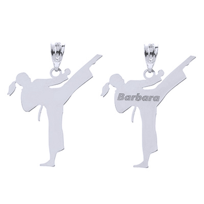 Personalized Engravable Silver Name Girl Female Karate Martial Arts Sports Charm Pendant