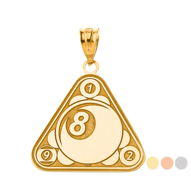 Personalized Engravable Gold Eight Ball Billiard Pool Cue Charm Necklace with Your Number and Name(Yellow/Rose/White)