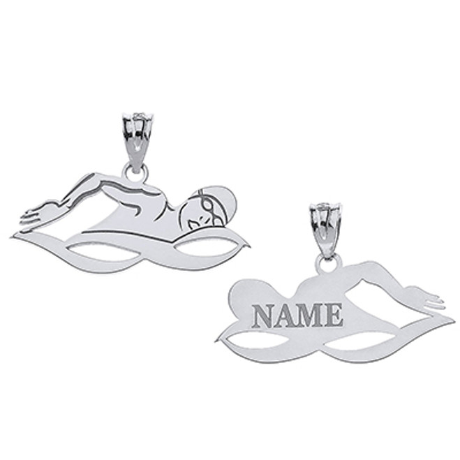Personalized Engravable Silver Swimmer Sports Charm Necklace With Your Name