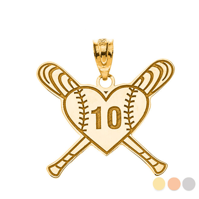 Personalized Engravable Gold Heart with Crossed Baseball Bats Charm Necklace with Your Number and Name(Yellow/Rose/White)