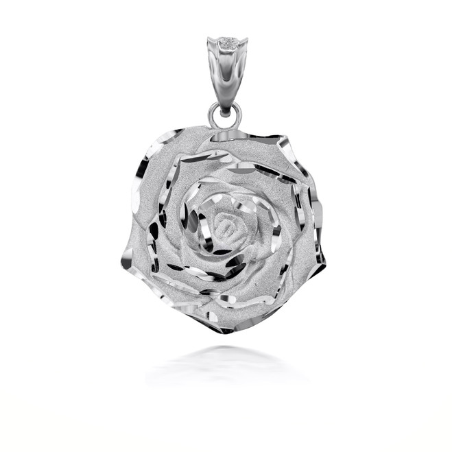 Sterling Silver Rose Flower 3D Charm Necklace