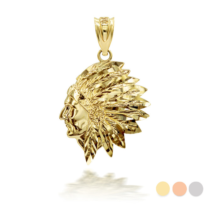 Gold Native American Apache 3D Charm Necklace (Available in Yellow/Rose/White Gold)