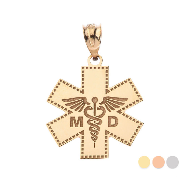 Personalized Engravable Gold Caduceus MD Medical Doctor Charm Necklace with Your Name(Yellow/Rose/White)