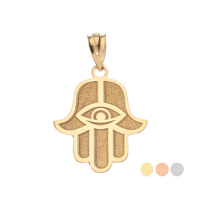 Middle Eastern Jewelry Gold Personalized Name Hamesh Hand Hamsa with Evil Eye Necklace (Yellow/ Rose/White)