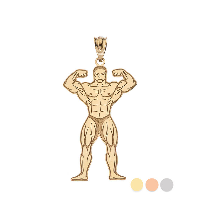 Personalized Sports Charm Certified Gold Customized Name Muscle Men Sport Gym Fitness Bodybuilding Necklace (Yellow/ Rose/White)