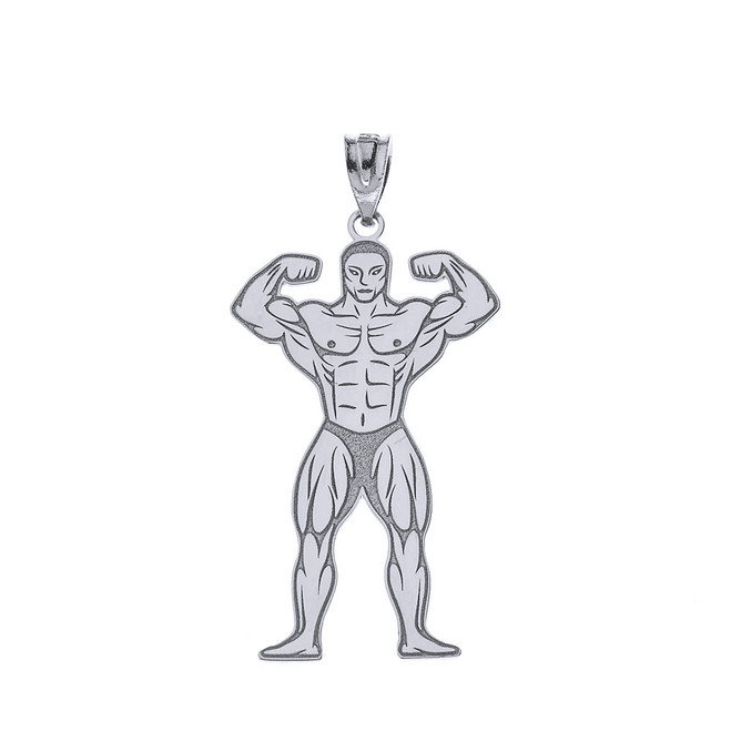 Sterling Silver Personalized Name Muscle Men Sport Gym Fitness Bodybuilding Pendant Necklace