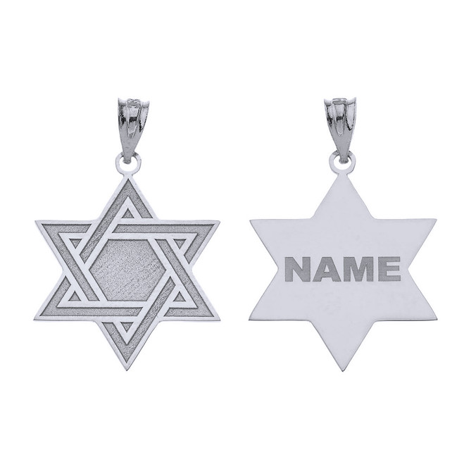 Personalized Silver Jewish Jewelry Engraved Interlocking Star Of David Pendant Necklace With Your Name