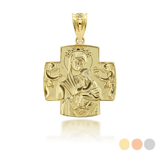 Gold Jesus And Mary Two Sided Russian Orthodox Cross Charm Necklace (Available in Yellow/Rose/White Gold)