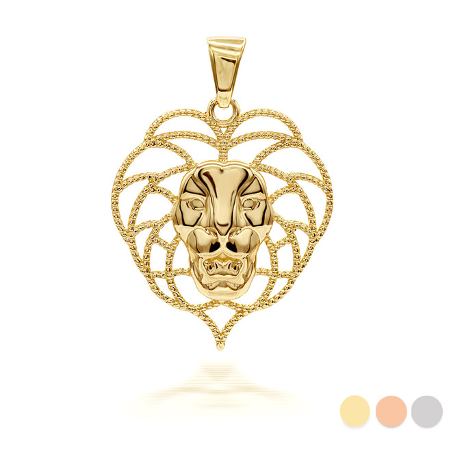 Wild Beaded Lion Pendant/Necklace (Available in Yellow/Rose/White Gold)