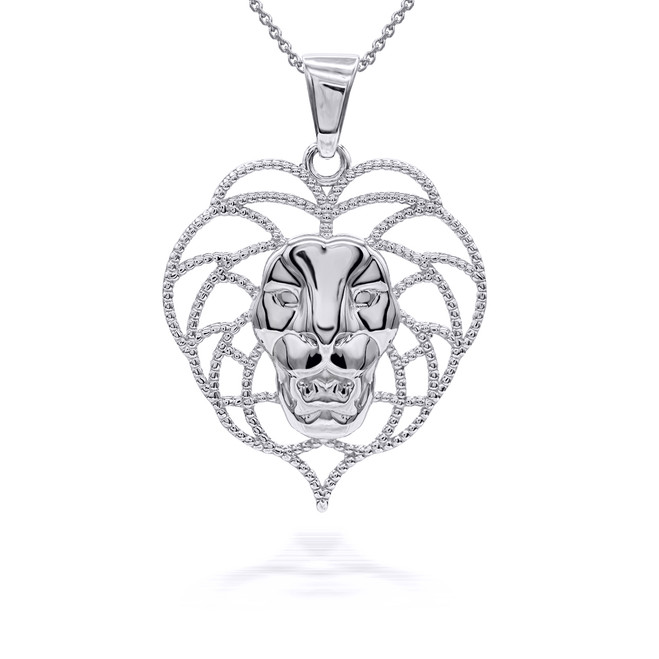 Wild Beaded Lion Pendant/Necklace Sterling Silver