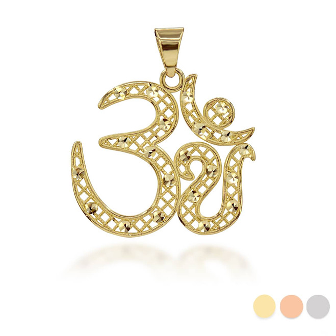 Sparkle-Cut Filigree Ohm Pendant Necklace (Available in Yellow/Rose/White Gold)