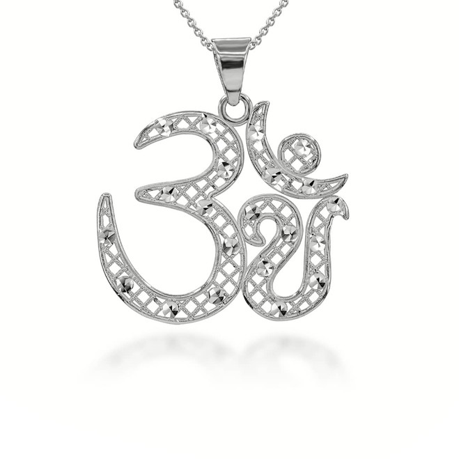 Sparkle-Cut Filigree Ohm Pendant Necklace Sterling Silver
