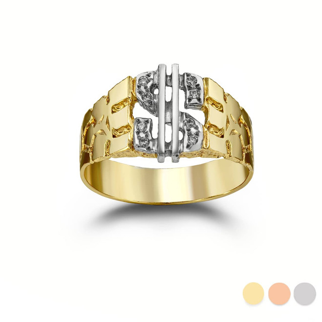 Two-Tone Diamond Dollar Sign Nugget Ring in Gold (Yellow/ Rose/ White) (4-16)