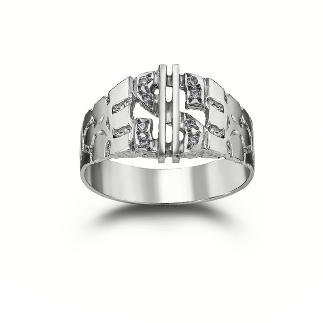 Diamond Dollar Sign Nugget Ring in Sterling Silver