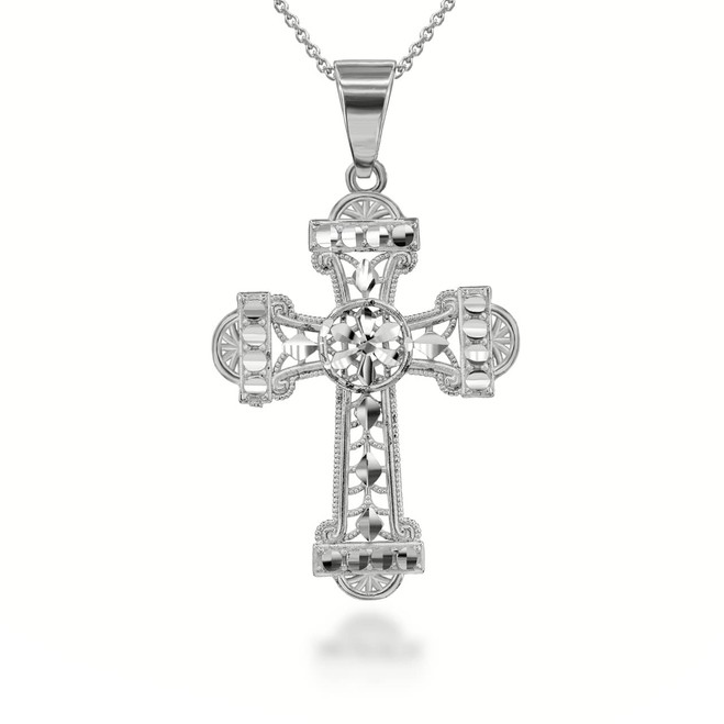 Sparkle Cut Filigree Ornate Cross Pendant Necklace in Sterling Silver