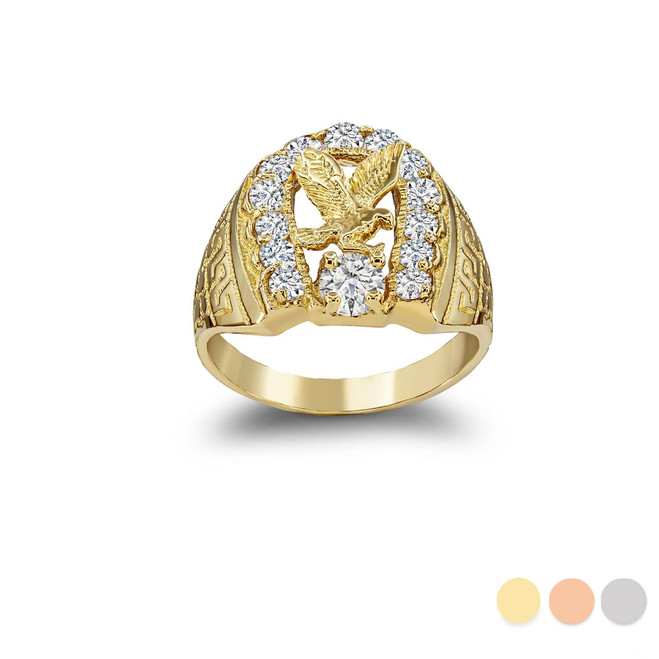 American Eagle Horseshoe Ring in Gold (Yellow/ Rose/ White)