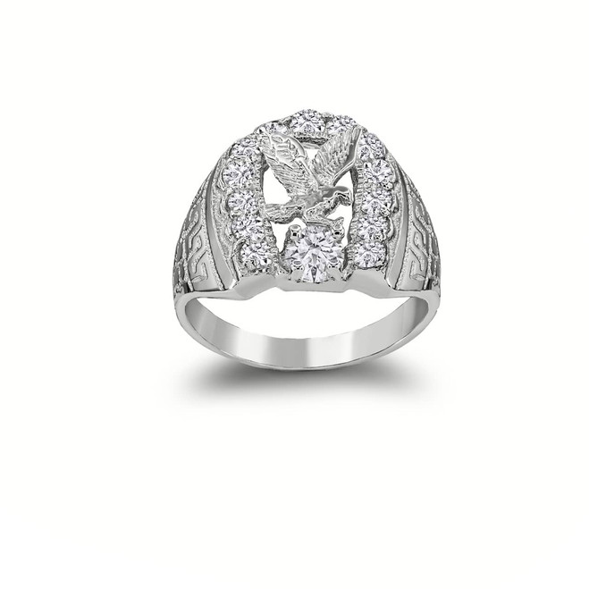 American Eagle Horseshoe Ring in  Sterling Silver