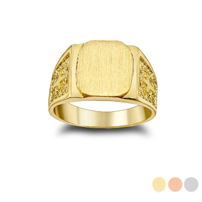 Exquisite Signet Ring with Cross on Both Sides in Gold (Yellow/ Rose/ White)