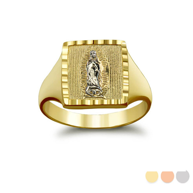 Sparkle-Cut Square Lady of Guadalupe Signet Ring in Gold (Yellow/ Rose/ White)