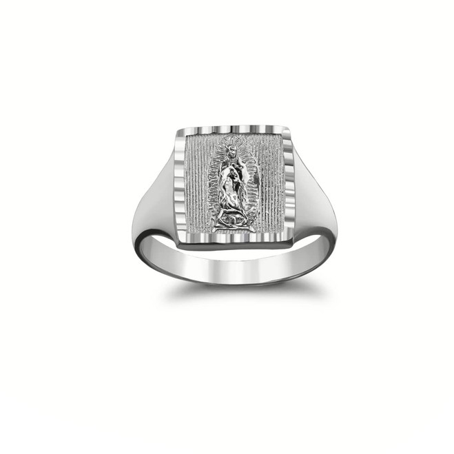 Sparkle-Cut Square Lady of Guadalupe Signet Ring in Sterling Silver