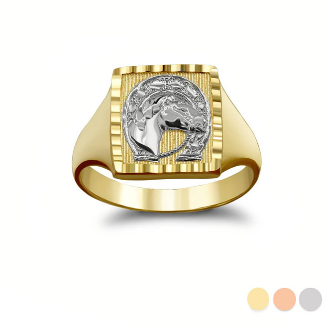Two-Toned Sparkle-Cut Square Lucky Horseshoe Signet Ring in Gold (Yellow/ Rose/ White)