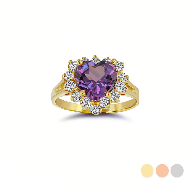 Stunning Heart Ring with February Birthstone and CZ Halo in Gold (Yellow/ Rose/ White)