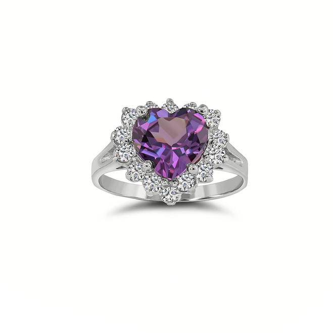 Stunning Heart Ring with February Birthstone and CZ Halo in Sterling Silver