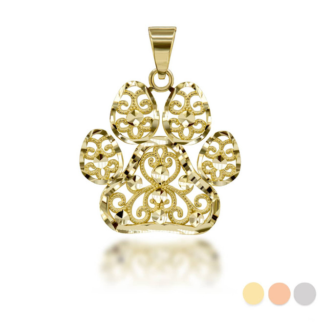 Sparkle Cut Filigree Paw Print Pendant Necklace in Gold(Yellow/ Rose/ White)