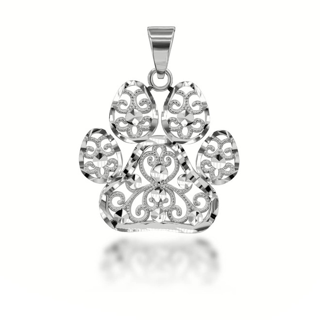 Sparkle Cut Filigree Paw Print Pendant Necklace in Sterling Silver