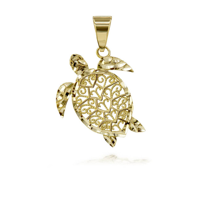 Sparkle Cut Filigree Turtle Pendant Necklace in Gold(Yellow/ Rose/ White)