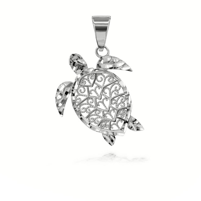 Sparkle Cut Filigree Turtle Pendant Necklace in Sterling Silver