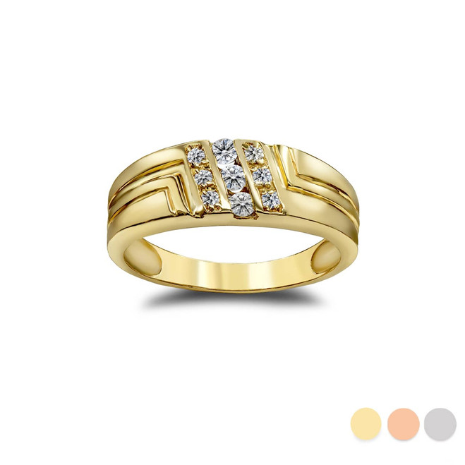 His 9-Stone Diamond Wedding Band in Gold (Yellow/ Rose/ White)