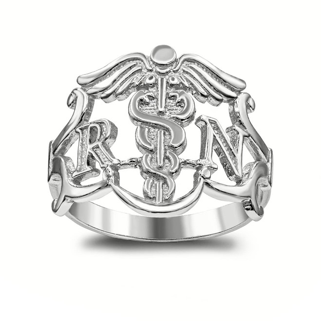 "Large Registered Nurse (0.6"" Face Length) Ring in Sterling Silver"
