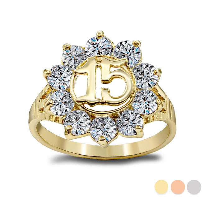 """Large (0.6"""") Sparkly CZ Round 15 Anos Quinceanera Ring in Gold (Available in Yellow/White/ Rose Gold)"""