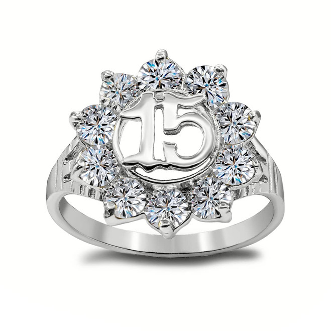 """Large (0.6"""") Sparkly CZ Round 15 Anos Quinceanera Ring in Sterling Silver"""