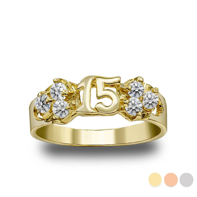 Cute 15 Anos Quinceanera Ring in Gold ( Available in Yellow/Rose/White Gold)