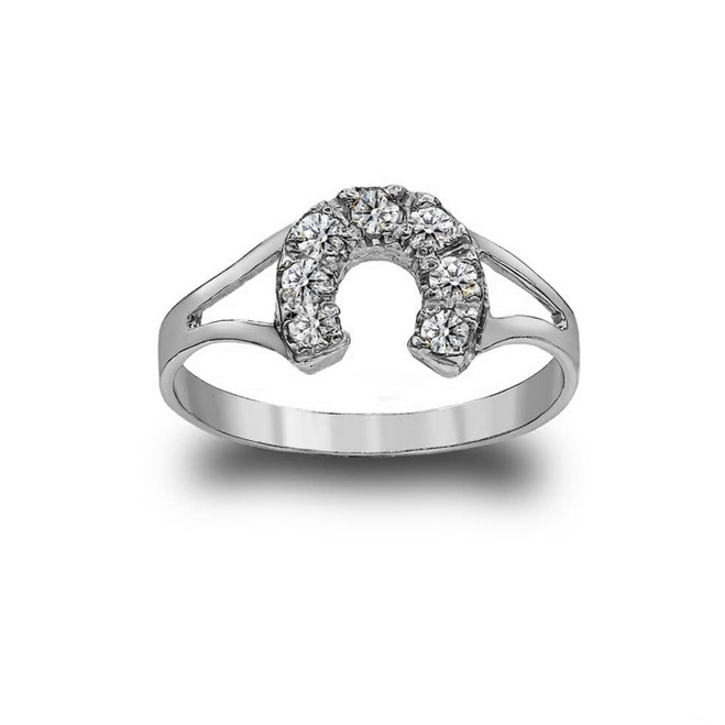 Dainty Horseshoe CZ-Studded Ring in Sterling Silver