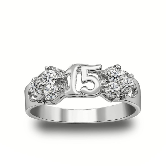 Cute 15 Anos Quinceanera Ring in Sterling Silver