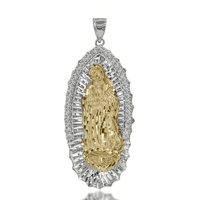Two Toned Extra Large CZ Studded Our Lady of Guadalupe Pendant in White Yellow Gold