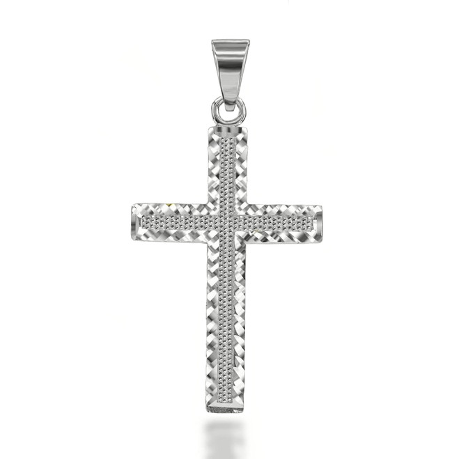 Two-Sided Sparkle Cut Cross Pendant Necklace in Sterling Silver