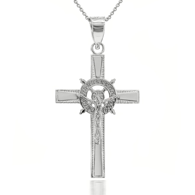 Compass Wheel Cross Pendant Necklace in Sterling Silver
