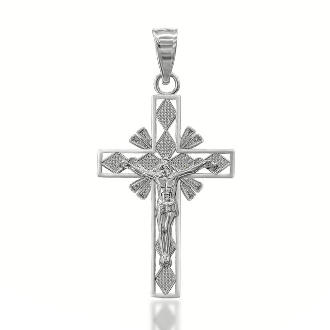 Crucifix Cross Pendant Necklace  in Sterling Silver