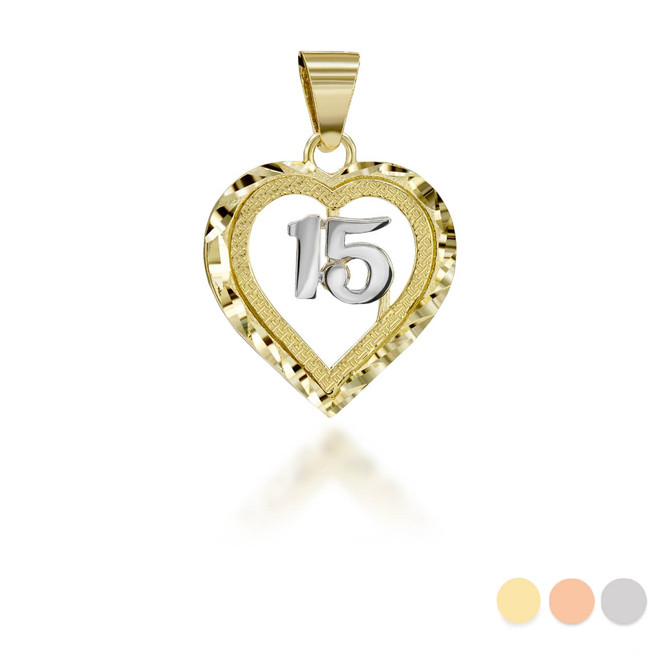 Two-Tone Sparkle Cut in Yellow and White 15 Anos Heart Pendant Necklace