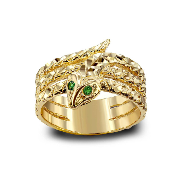 Gold Snake Ring With Green Eyes (Available in Yellow/ Rose/ White Gold)
