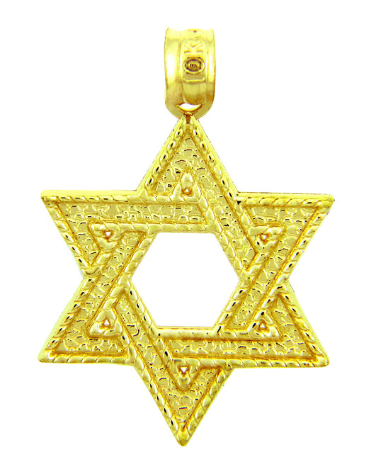 Jewish Gold Pendants - Yellow Gold Star of David Pendant