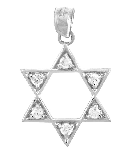 Silver Gleaming Star of David in Cubic Zirconia Jewish Charm Pendant
