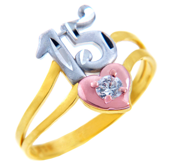 15 Años Gold Ring - Quinceanera Ring in Cubic Zirconia
