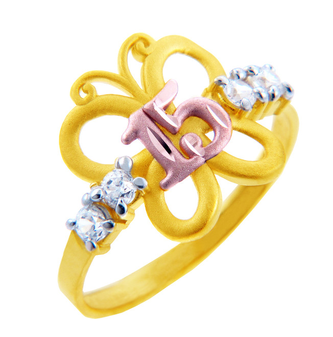 15 Años Ring - Quinceanera Butterfly Ring with Cubic Zirconias