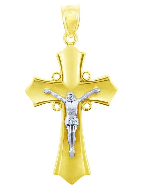 Two Tone Gold Crucifix Pendant - The Majestic Crucifix