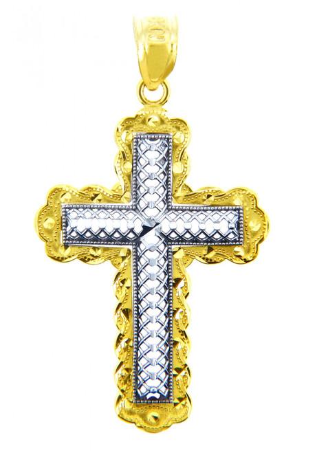 Two Tone Gold Morning Star Cross Pendant